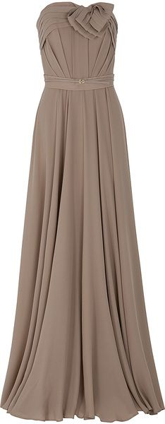 Elie Saab Mocha ice Strapless Bow Gown