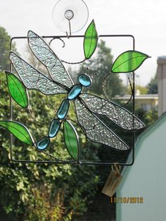 stained glass dragonfly, handmad stain, glass dragonfli, stain glass