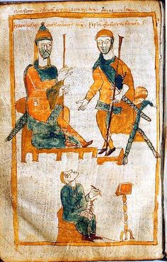 "Tenth-century copy of a lost original from about 830:  Charlemagne (left, his name means ""Charles the Great"") and his oldest son, Pippin the Hunchback (Broadway Musical was about him, but not historical). King of the Franks from 768 and Emperor of the Romans (Imperator Romanorum) from 800 to his death in 814."