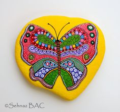 Hand Painted Stone Butterfly