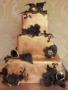24 Karat Wedding Cake ~ marbled and all edible