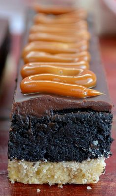 Shortbread Brownies with Ganache and Dulce de Leche