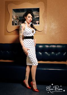 "Polka Dot Wiggle Dress - ""Deadly Dames"" Fitted Wiggle Dress in White with Black Polka Dots"