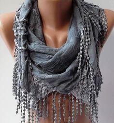 Grey  Elegance Shawl / Scarf by womann on Etsy, $17.90