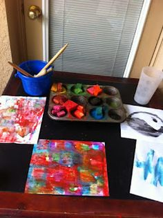 Our art space: not picture perfect, but perfect for painting pictures!   Blog Hop Week 2: Our School Room   from Sunrise Learning Lab