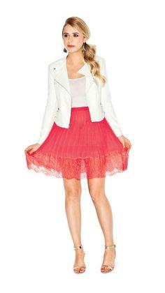 White moto jacket with flirty pleated skirt