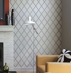 Wall Stencil Harlequin Trellis - reusable stencils for walls instead of wallpaper-DIY decor