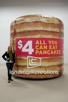 Have you had your breakfast today?Denny's Giant Inflatable Pancake Stack #inflatables #bfast #food