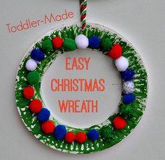easy christmas crafts for kids | Christmas Crafts for Kids : Easy Christmas Wreath for toddlers