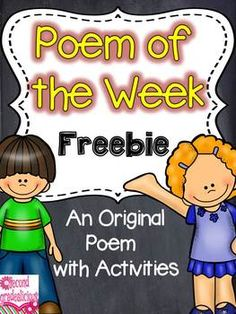 Poetry {Poem of the Week} Freebie - Poem and activities for shared reading and word work.