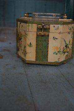 Vintage Asian bird decoupage wooden purse