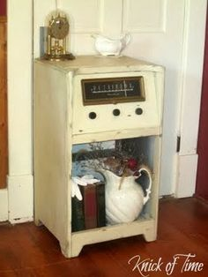 Crank Up the Radio - an antique radio gets a makeover and becomes a display cabinet  ~~~via http://knickoftimeinteriors.blogspot.com/