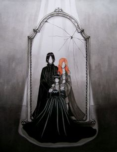 Snape looking into the Mirror of Erised.    THAT'S HORRIBLY SAD!  :( :(