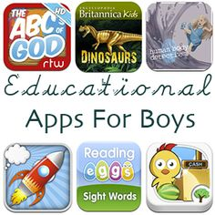 Educational Apps for Boys ~ Great list.  Useful for homeschoolers, too.