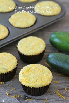 Zucchini Cheddar Corn Muffins from www.twopeasandtheirpod.com #recipe #zucchini