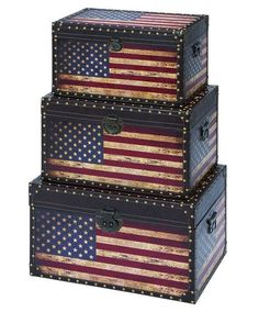 3 Piece Old Glory Trunk Set <3