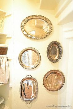 Dollar store trays or cheap frames, spray paint center with Krylon mirror finish spray paint for cheap mirror project or chalkboard paint.