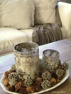 holiday, coffee tables, sweet pea, christmas centerpieces, mercury glass, diy project, tin cans, candl, pine