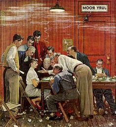 The Jury, art by Norman Rockwell. Detail from cover of February 14, 1959 Saturday Evening Post…
