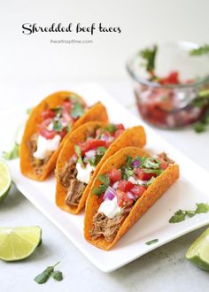 Shredded Beef Tacos with fresh pico de gallo! These tacos are a great meal for busy school nights. The whole family will love them!