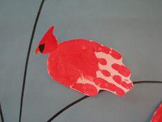 this is a handprint cardinal for my classroom's winter door.