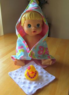 Baby Doll Bath Time Set  Incudes Hooded Towel Minky by craftEdaze, $10.00