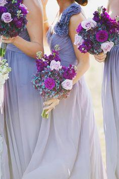 Deidre Lynn Photo shades of purple, purple bridesmaid dresses, color, purple palette, purple flowers, the dress, purple wedding, purple bouquets, bridesmaid bouquets