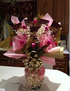 candy bar bouquets | Dove Raspberry Candy Bar Bouquet | Candy Bouquets