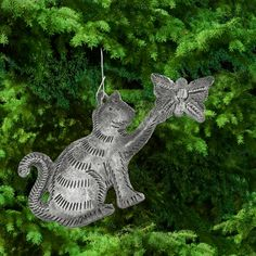 Haitian Recycled Steel Kitty & Butterfly Ornament at The Hunger Site