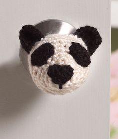 Panda Doorknob Cozy Free Crochet Pattern from Red Heart Yarns