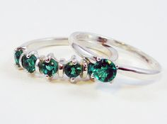 Emerald Wedding Band and Engagement Ring Set by DreamyRings, $105.00