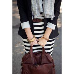 stripe for interview? skirt, fashion, style, blazer, bag, dress, black white, work outfits, stripe