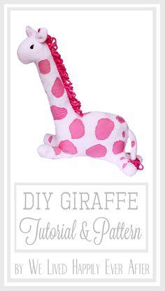 Cutest DIY Stuffed Animal I have seen! Hot Pink Giraffe Tutorial & Pattern