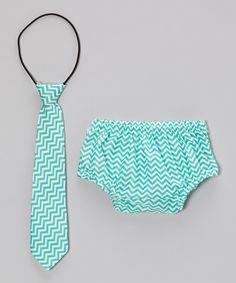 Aqua Baby Tie & Diaper Cover Gift Set by Bébé Oh La La