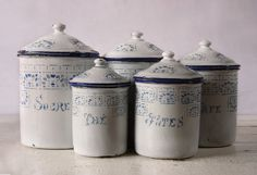 white and blue enamelware set 220