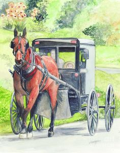 Amish Horse And Buggy Painting by Morgan Fitzsimons - Amish Horse And Buggy Fine Art Prints and Posters for Sale