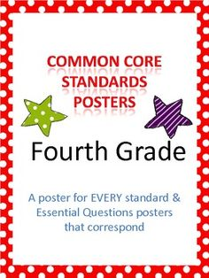 Common Core Standards Posters & Essential Questions Posters for FOURTH GRADE $