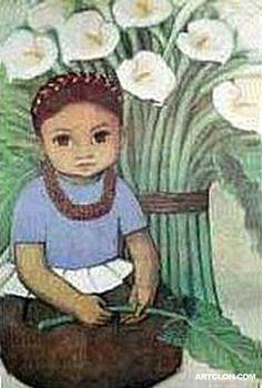 child and calla lillies
