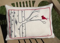 Embroidered Wool Pillow. This pretty pillow will add a striking Winter accent to any sofa or chair. A 100% wool yarn from Dale of Norway is used - famous for their fabulous sweaters - to embroider this original birch tree design onto the felted ivory wool background. Cardinal pillow. A winter landscape pillow with birch trees. A Christmas landscape pillow for Christmas decorations. https://www.aftcra.com/WoollyWhimsies/listing/5785/embroidered-wool-pillow