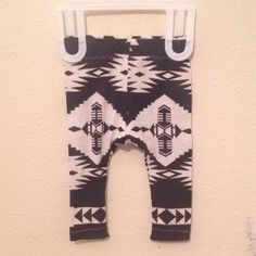 Handmade black and white Navajo tribal baby leggings sizes newborn-24 months, baby boy leggings, baby girl leggings, unisex baby leggings, on Etsy, $11.00