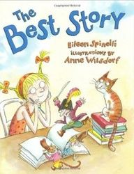 The Best Story.  It's great for teaching where writer's get their ideas.  In the end, the main character learns that the best story comes from your heart.  After reading it, give each student a paper heart and they fill it with words/pictures of the things/people they love.