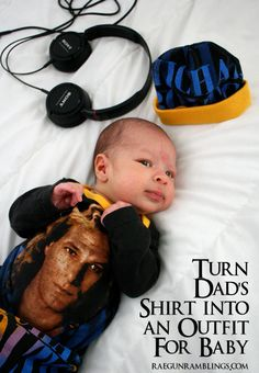 Take an adult shirt and turn it into a fun outfit for baby. How to at Rae Gun Ramblings