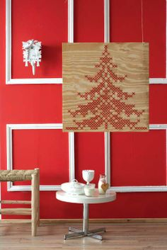 Cross stitch Christmas tree - fab festive decor, on a scale that's not to be missed!!