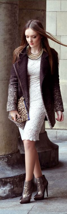 White Lace Dress with Long Leopard Coat