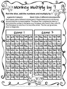Multiplication FREEBIE- NO PREP Games by Games 4 Learning - This set is 2 Multiplication Games that review multiplication skills multiplying up to 10x10.