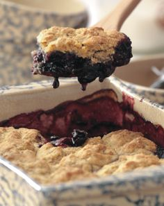 Summer Cherry Cornmeal Cobbler!  Recipe from Cooking Close to Home: A Year of Seasonal Recipes