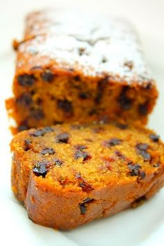 Pumpkin chocolate chip bread - This yields a moist, tight-crumbed loaf with a lovely orange colour. The pumpkin puree here is the magic ingredient, producing that almost-sunset hue and adding moisture to the batter. Plus, this takes the work of mere minutes to put together