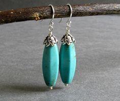 Renew Earrings - Turquoise Blue Magnesite Gemstone and Silver Earrings, modern southwest design