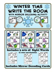 Includes 3 sets of sight words for Writing Around the Room. One set is reversed to use as a mirror decoding activity. The recording sheet also has a sentence writing activity. Sets come in blackline and color. $ sentence writing, elementari ela, kindergarten winter, anna school, teach idea