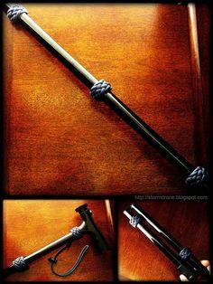 'Novelty' folding walking cane with knot work...
